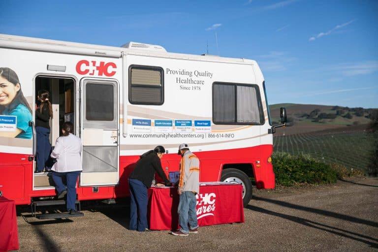 CHC mobile healthcare bus in vineyard